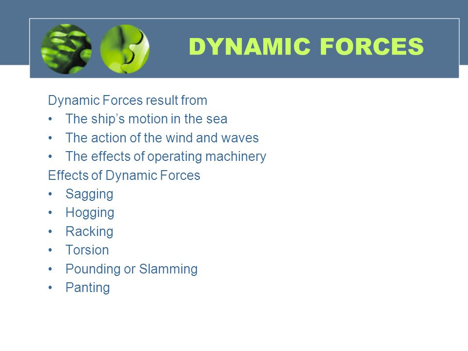 DYNAMIC FORCES Dynamic Forces result from The ship's motion in the sea