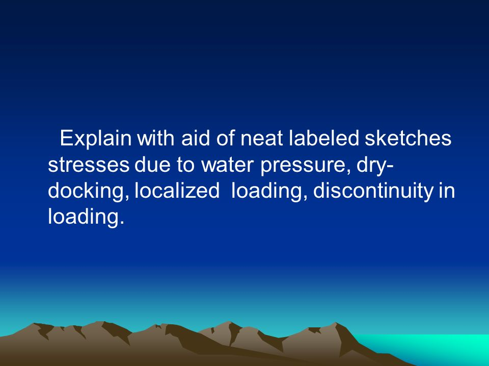 Explain with aid of neat labeled sketches stresses due to water pressure, dry-docking, localized loading, discontinuity in loading.