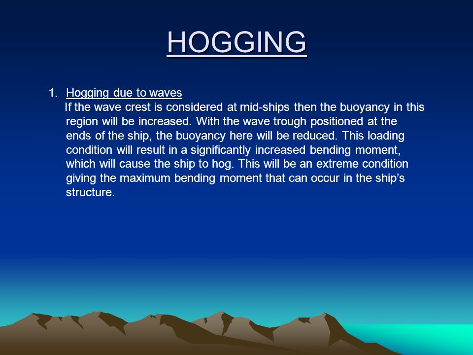 HOGGING Hogging due to waves