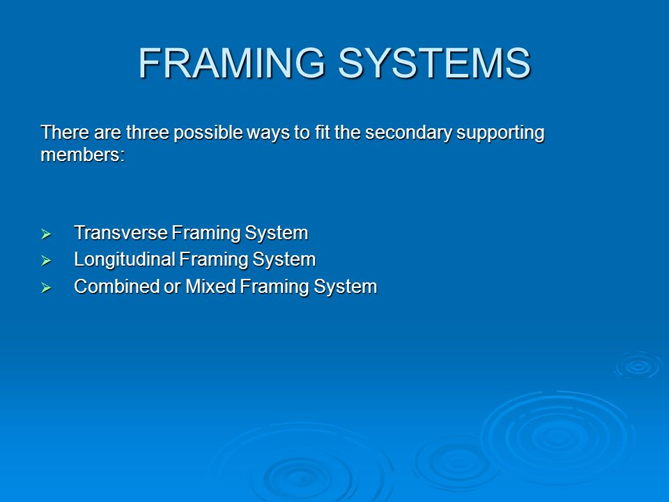 FRAMING SYSTEMS There are three possible ways to fit the secondary supporting members: Transverse Framing System.