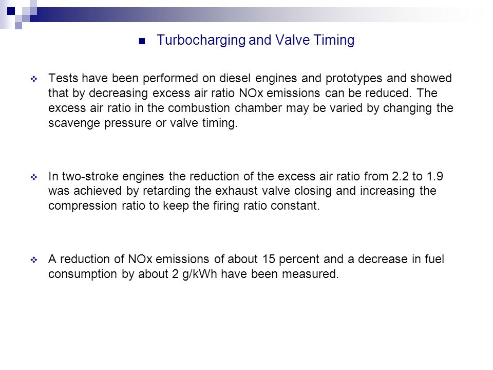 Turbocharging and Valve Timing