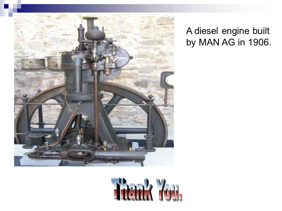 A diesel engine built by MAN AG in 1906.