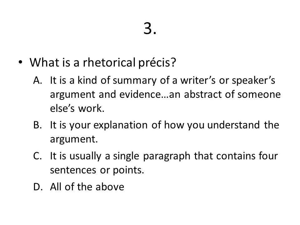 how to write a rhetorical precis