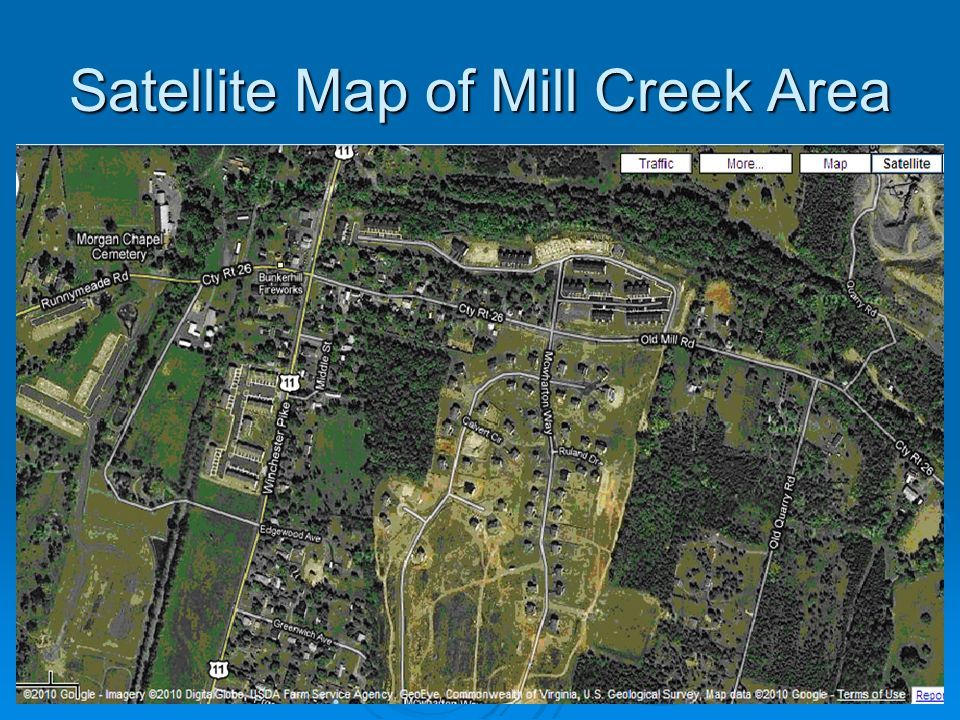 Satellite Map of Mill Creek Area