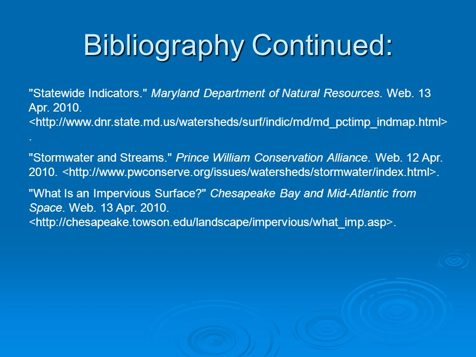 Bibliography Continued:
