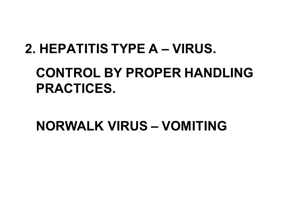 2. HEPATITIS TYPE A – VIRUS.