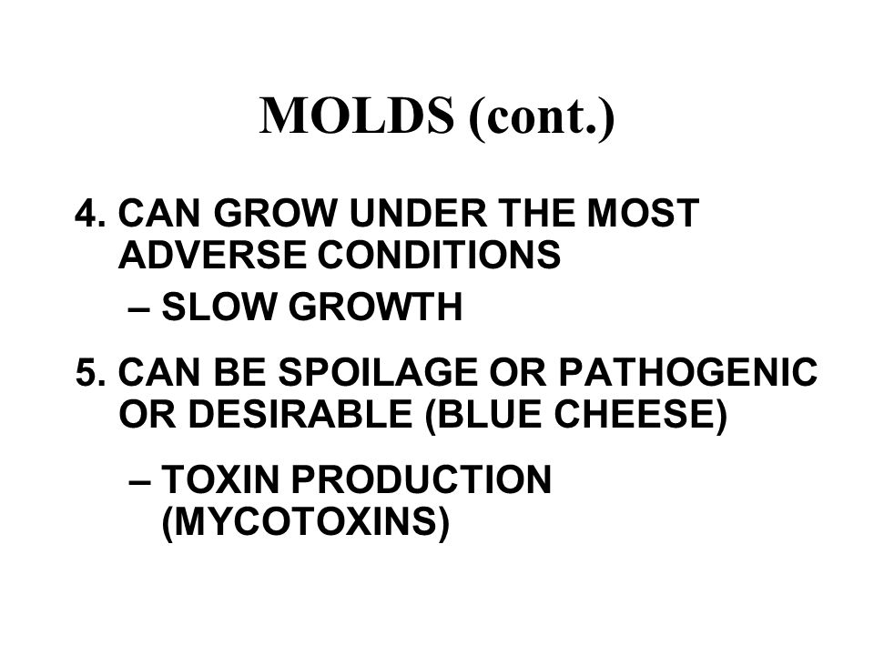 MOLDS (cont.) 4. CAN GROW UNDER THE MOST ADVERSE CONDITIONS