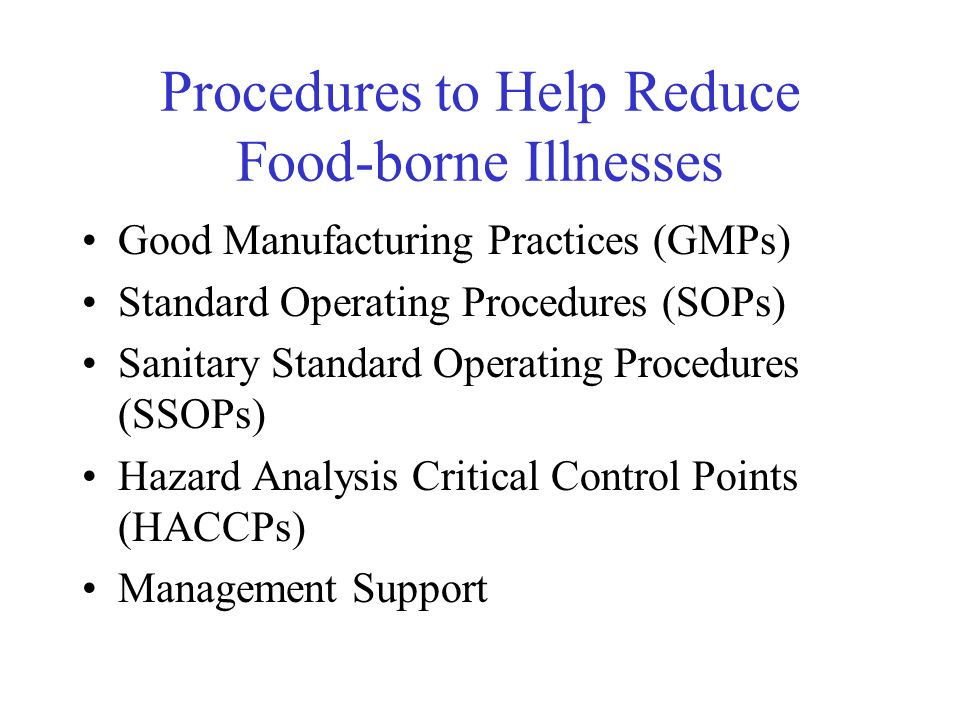 Procedures to Help Reduce Food-borne Illnesses