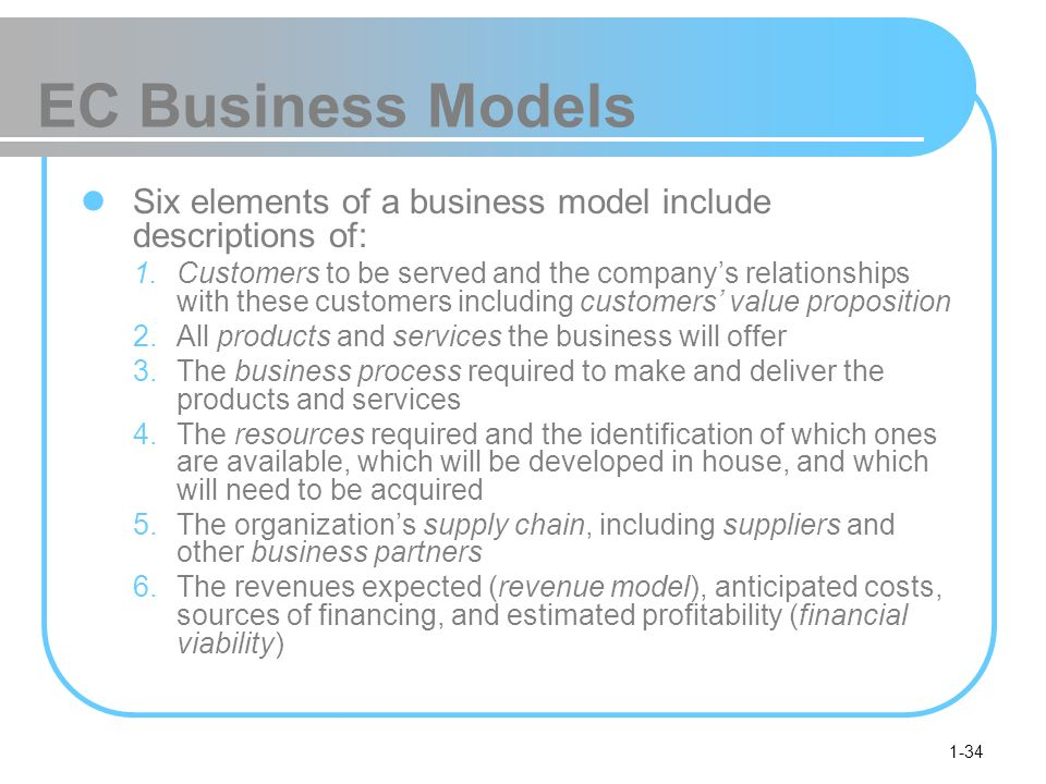 EC Business Models Six elements of a business model include descriptions of: