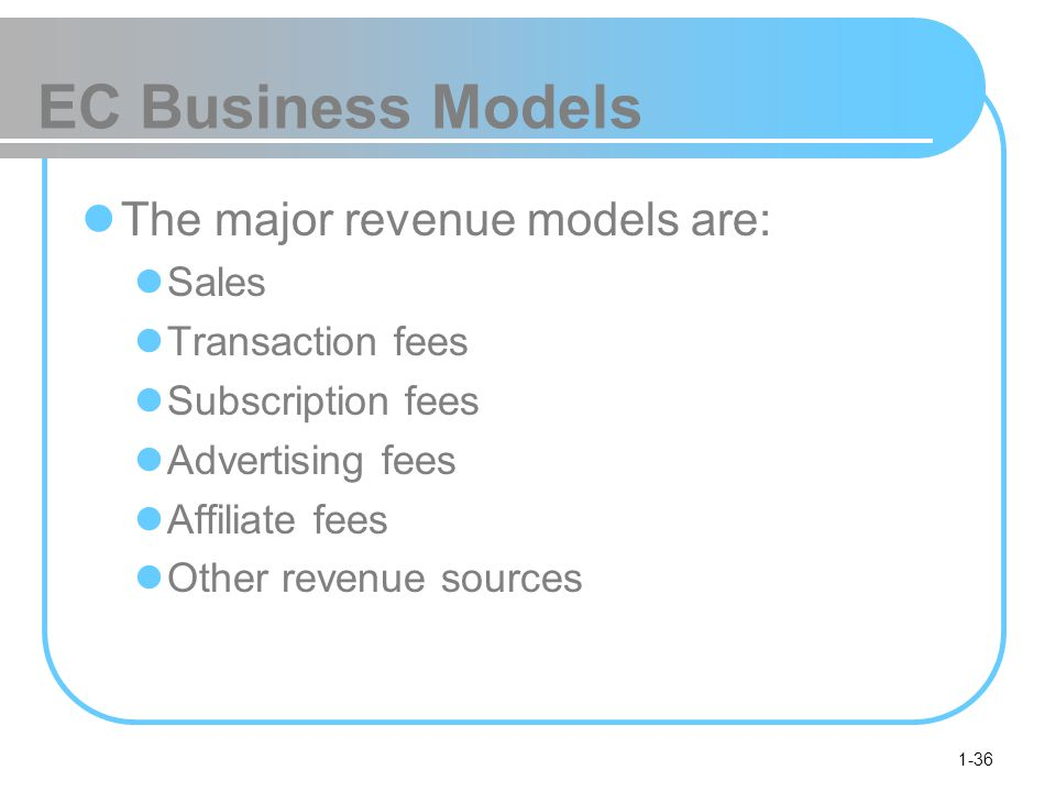 EC Business Models The major revenue models are: Sales