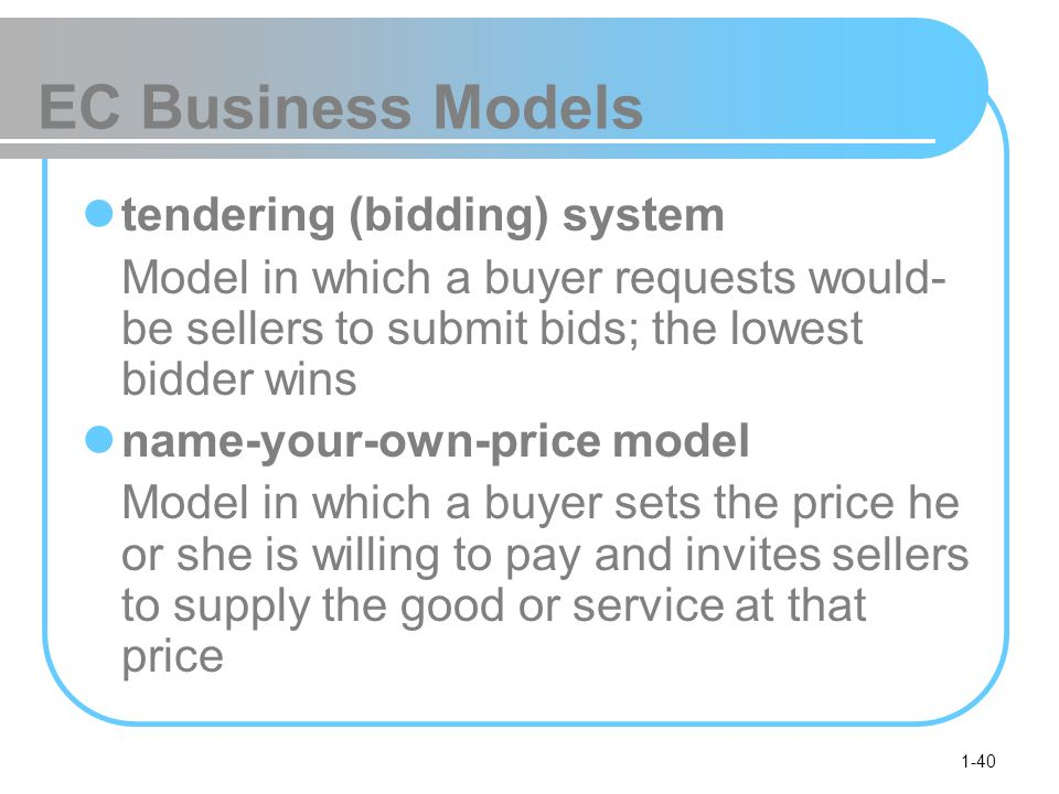 EC Business Models tendering (bidding) system