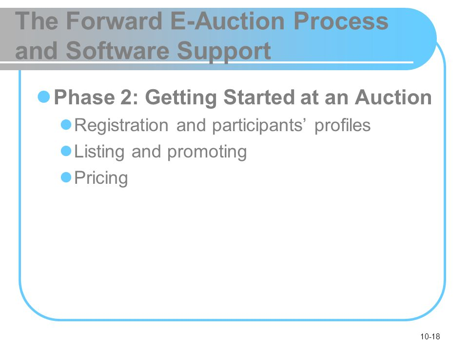 The Forward E-Auction Process and Software Support