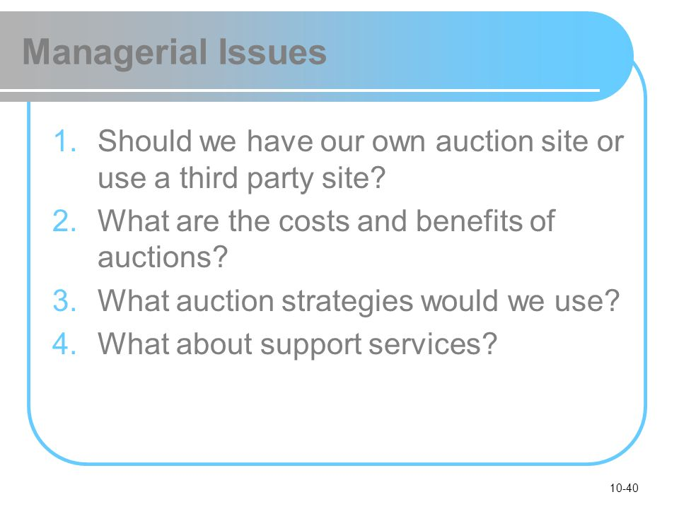 Managerial Issues Should we have our own auction site or use a third party site What are the costs and benefits of auctions