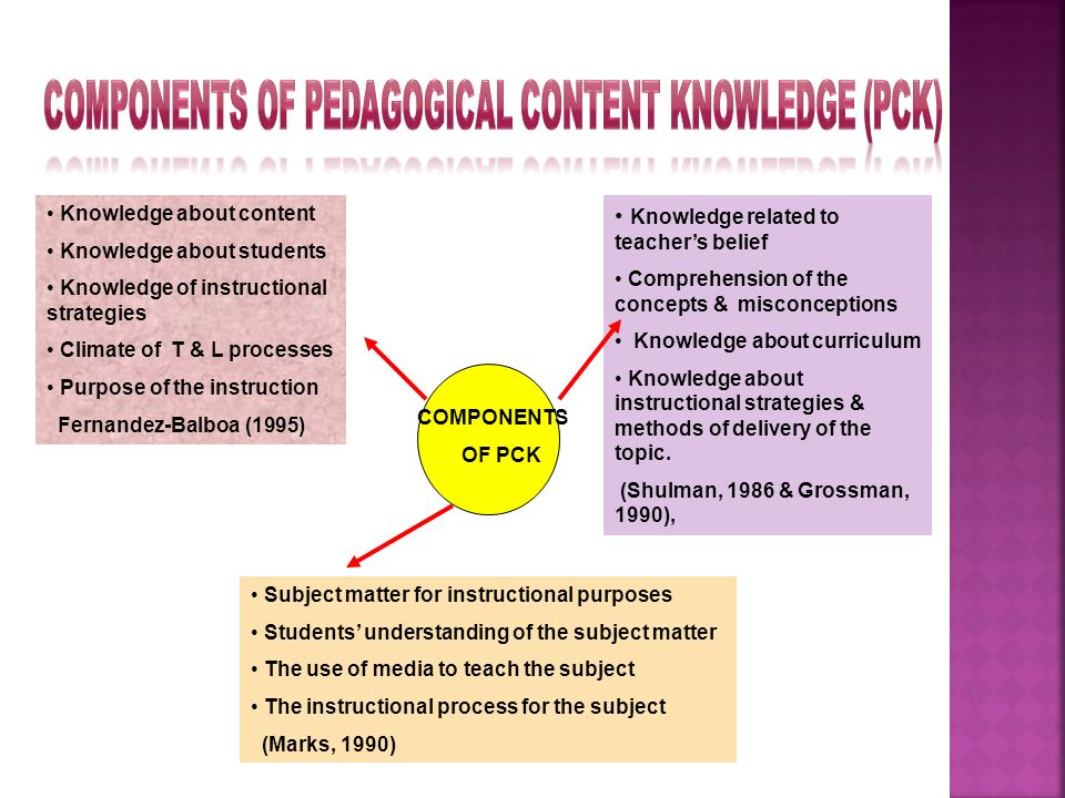 Components of Pedagogical Content Knowledge (PCK)