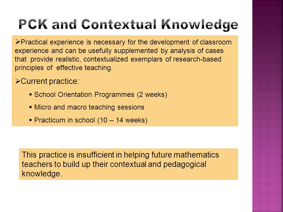PCK and Contextual Knowledge