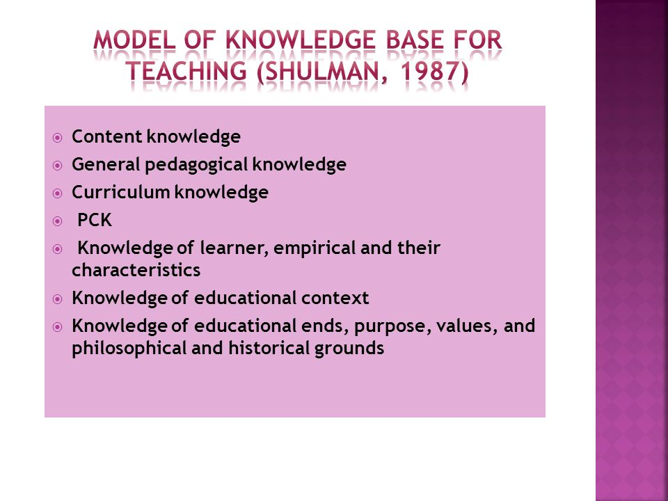 Model of Knowledge Base for Teaching (Shulman, 1987)