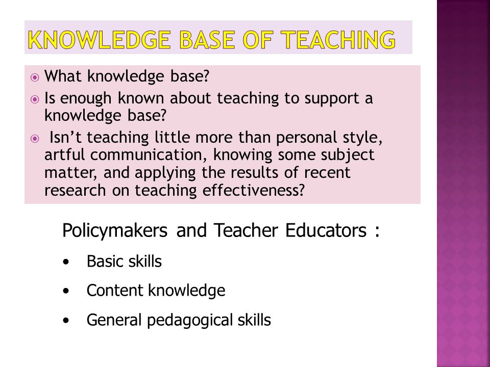 Knowledge Base of Teaching
