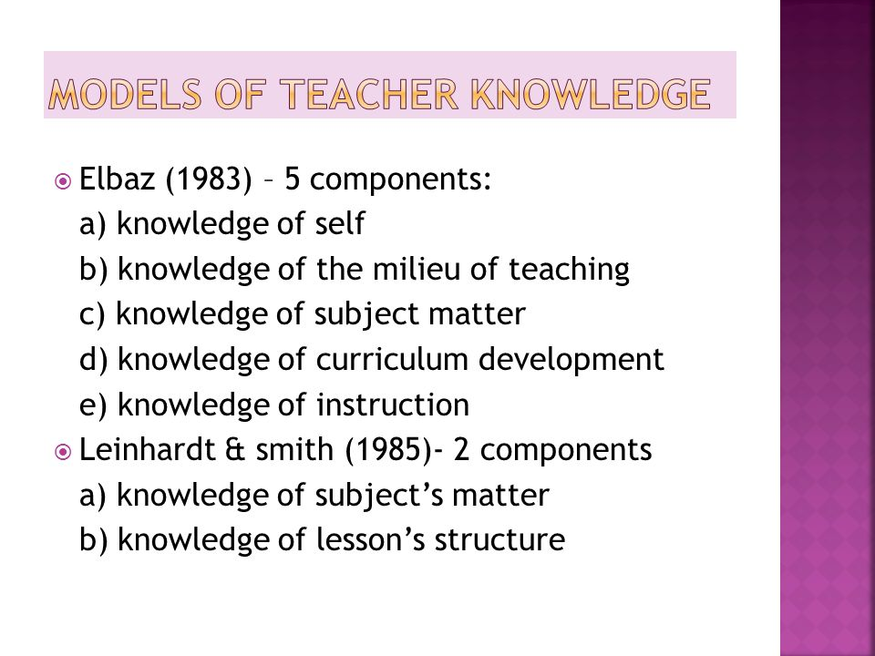 Models of Teacher Knowledge