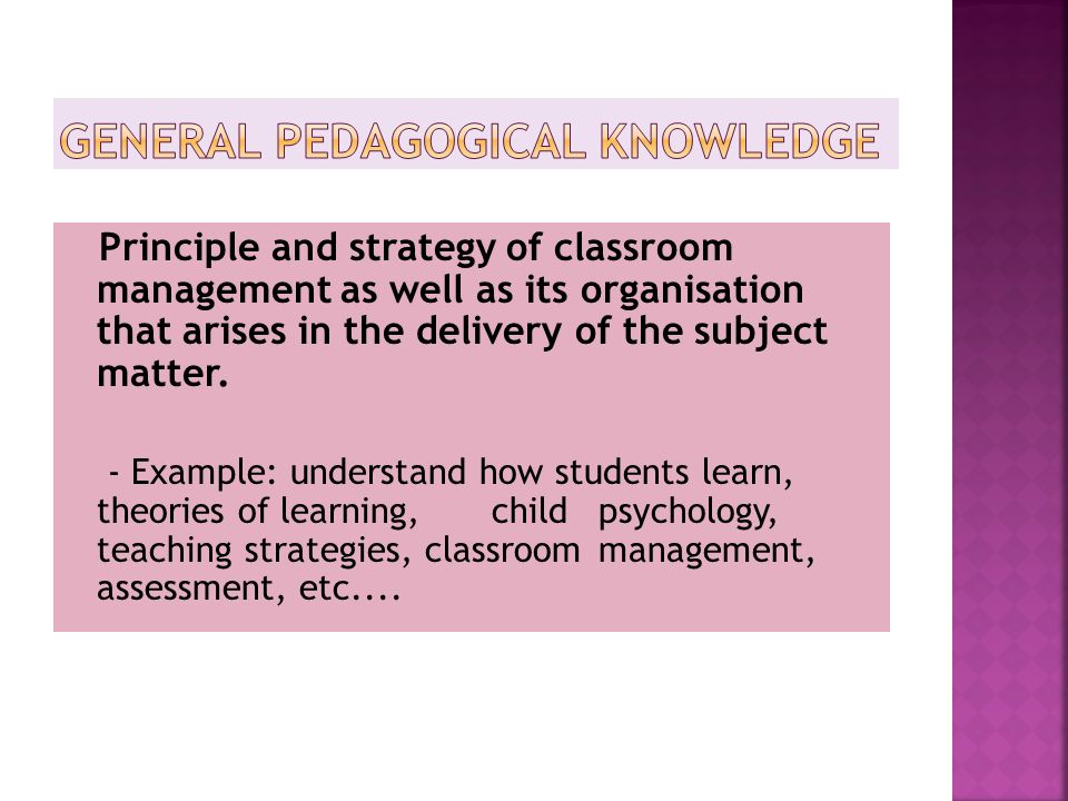 General pedagogical knowledge