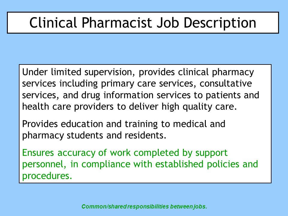 Commonshared responsibilities between jobs ppt download – Pharmacist Job Description