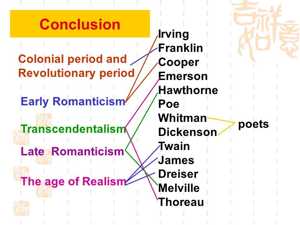 Conclusion Irving Franklin Cooper Emerson Hawthorne Poe Whitman Dickenson Twain James Dreiser Melville Thoreau.