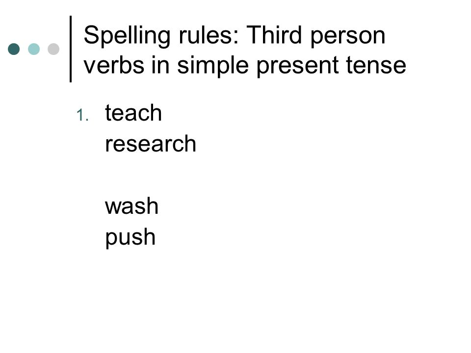 Spelling rules: Third person verbs in simple present tense