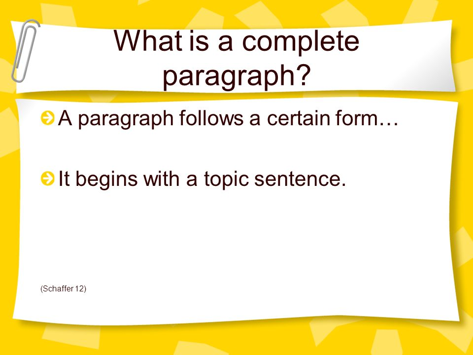 What is a complete paragraph