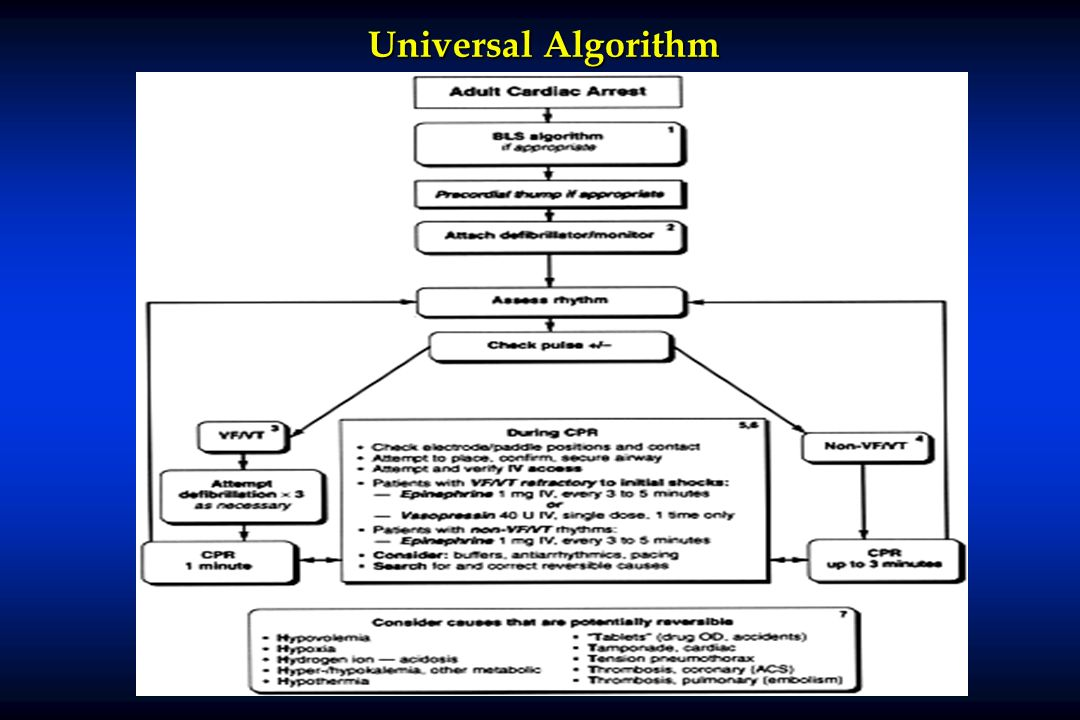 Universal Algorithm*NOTE: if no response to vasopressin, wait 10-20 minutes before administering epinephrine.