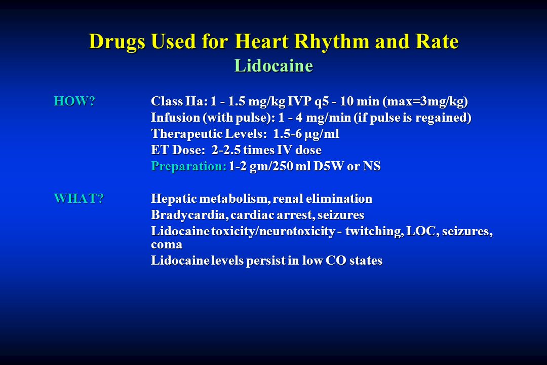 Drugs Used for Heart Rhythm and Rate Lidocaine