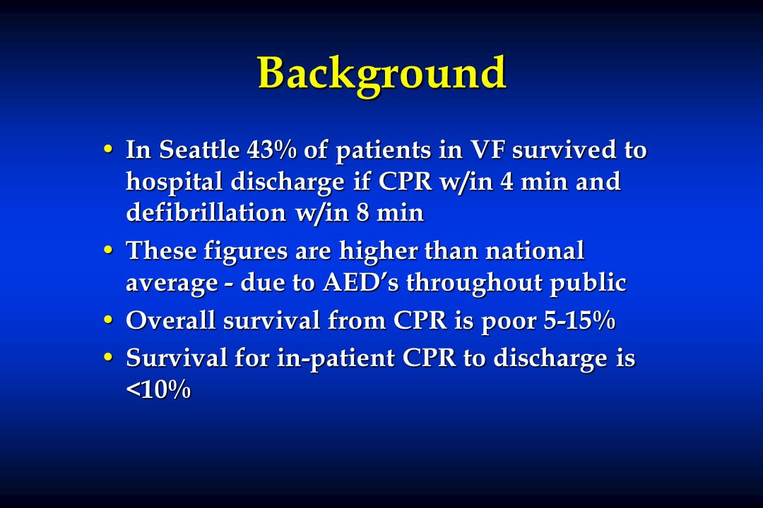 BackgroundIn Seattle 43% of patients in VF survived to hospital discharge if CPR w/in 4 min and defibrillation w/in 8 min.