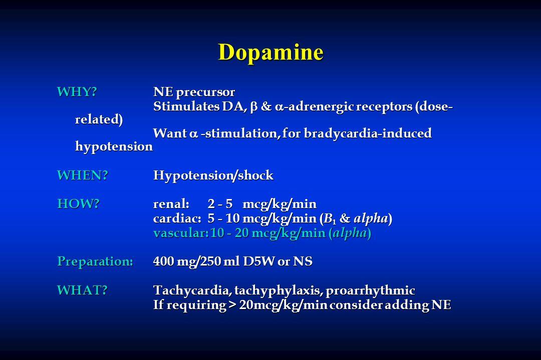 Dopamine WHY NE precursor