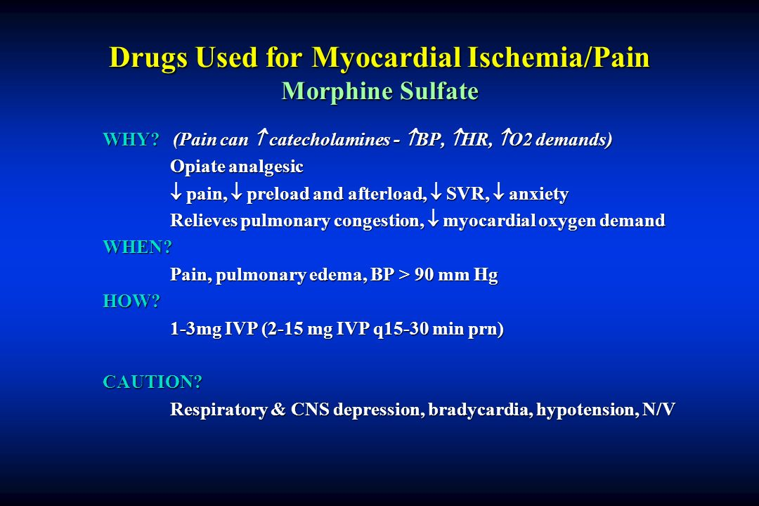 Drugs Used for Myocardial Ischemia/Pain Morphine Sulfate