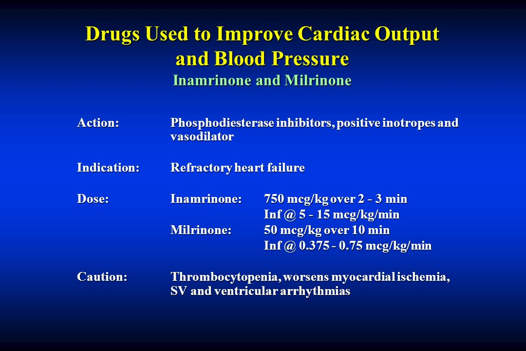 Drugs Used to Improve Cardiac Output and Blood Pressure Inamrinone and Milrinone