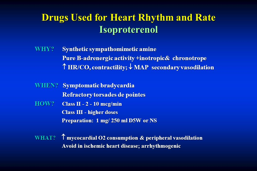 Drugs Used for Heart Rhythm and Rate Isoproterenol