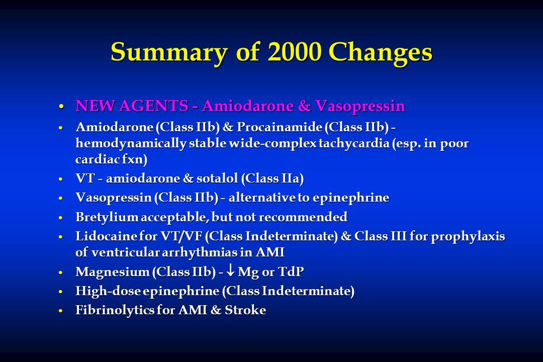 Summary of 2000 Changes NEW AGENTS - Amiodarone & Vasopressin