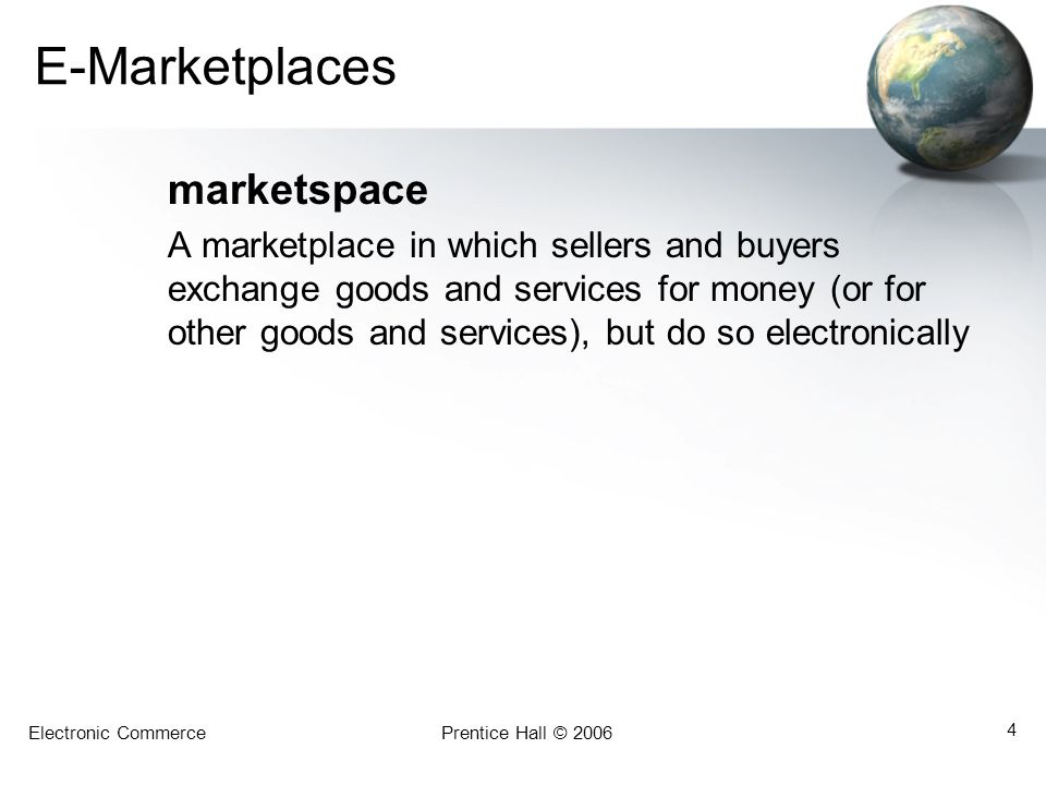 E-Marketplaces marketspace