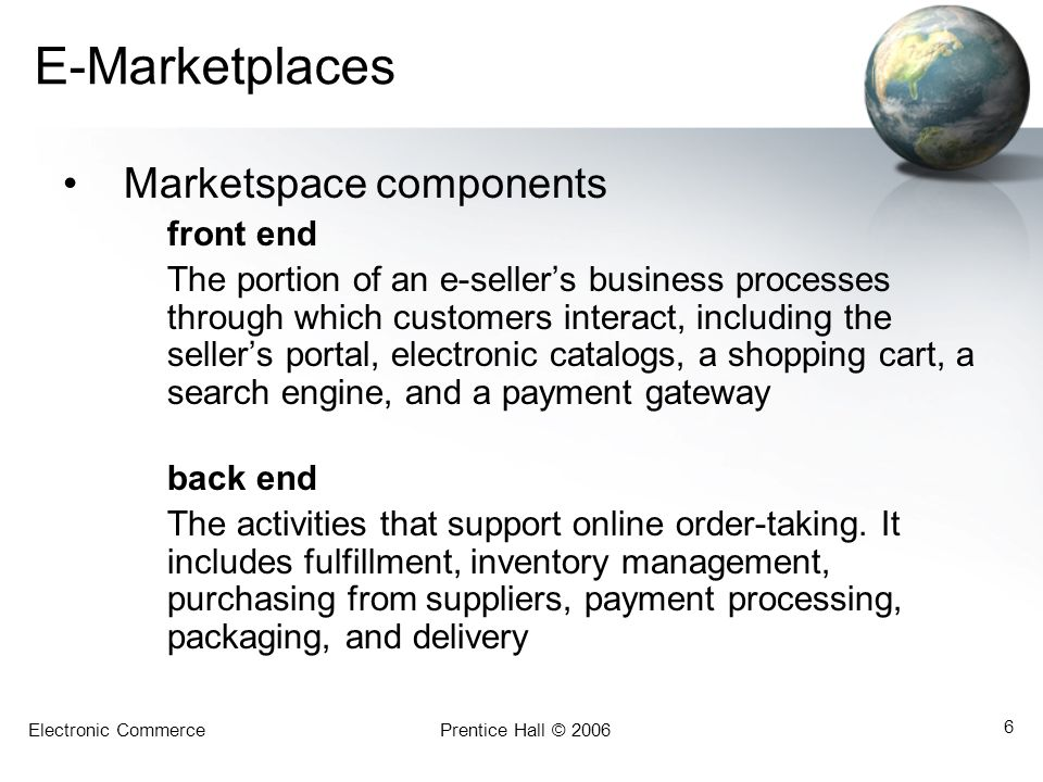 E-Marketplaces Marketspace components