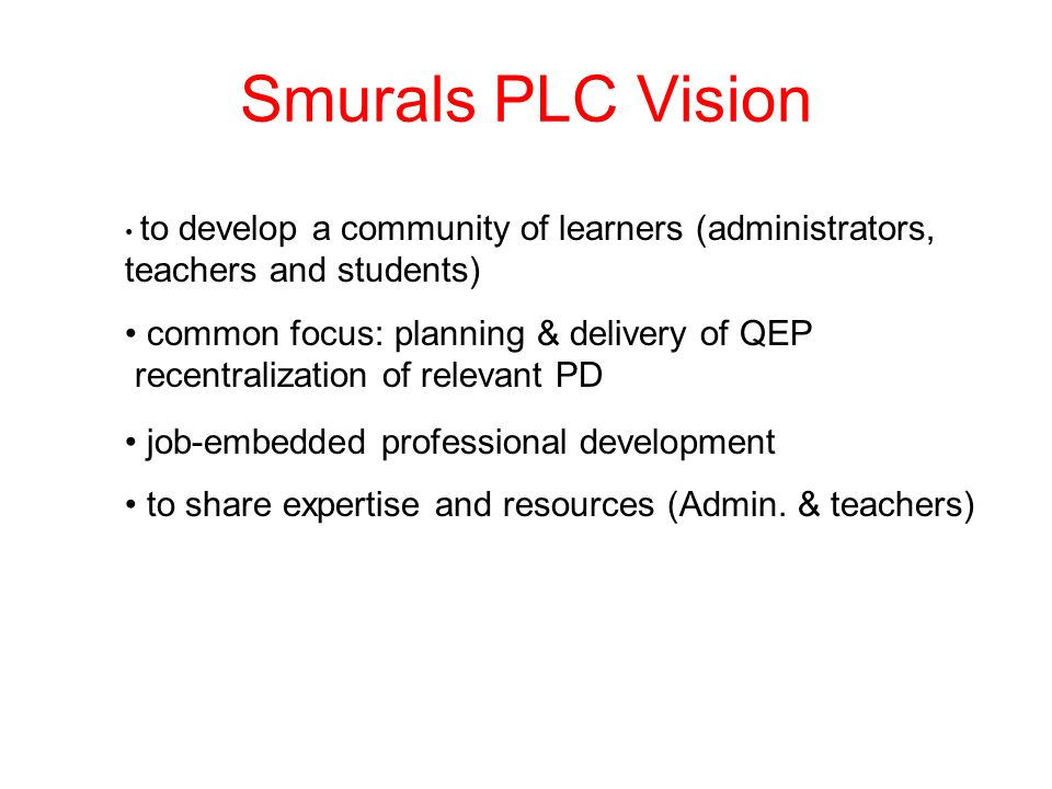 Smurals PLC Vision common focus: planning & delivery of QEP