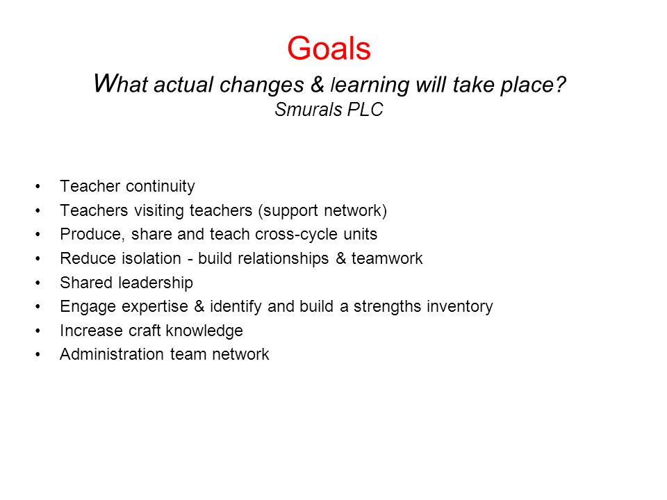 Goals What actual changes & learning will take place Smurals PLC