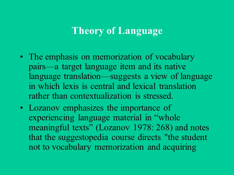 Theory of Language