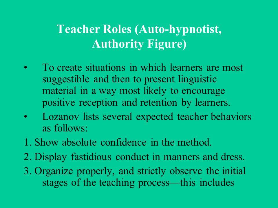 Teacher Roles (Auto-hypnotist, Authority Figure)