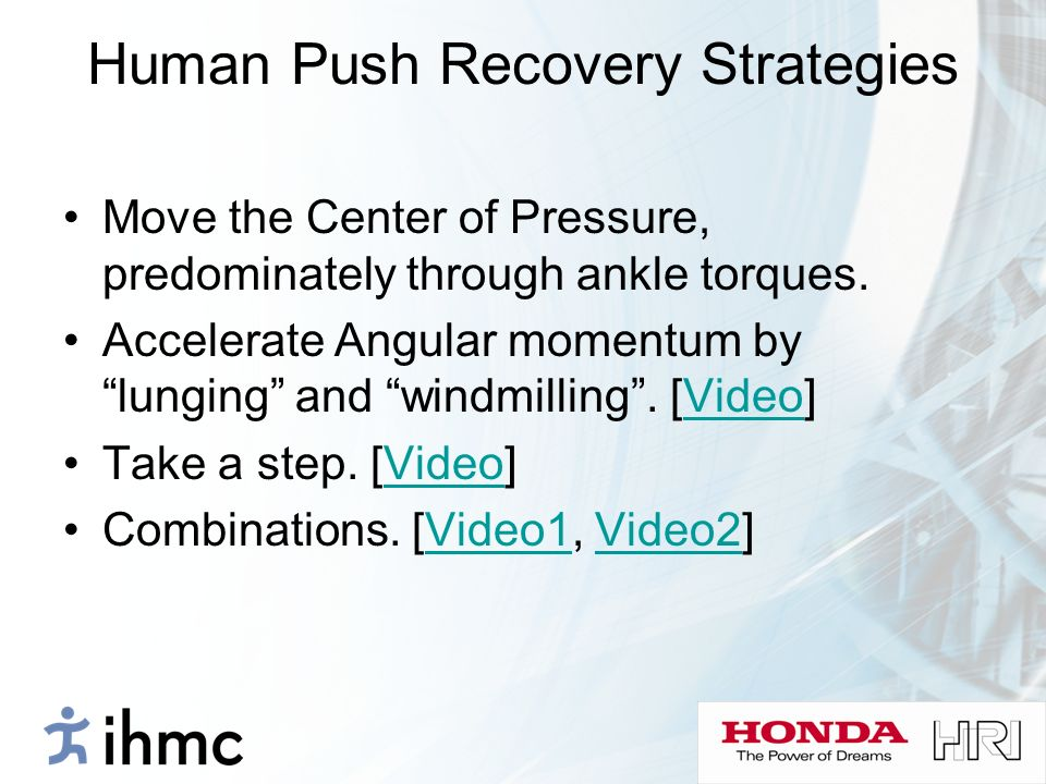 Human Push Recovery Strategies