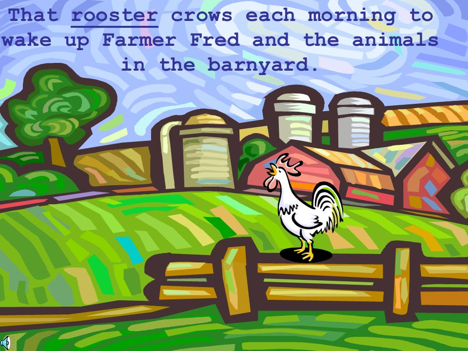 That rooster crows each morning to wake up Farmer Fred and the animals