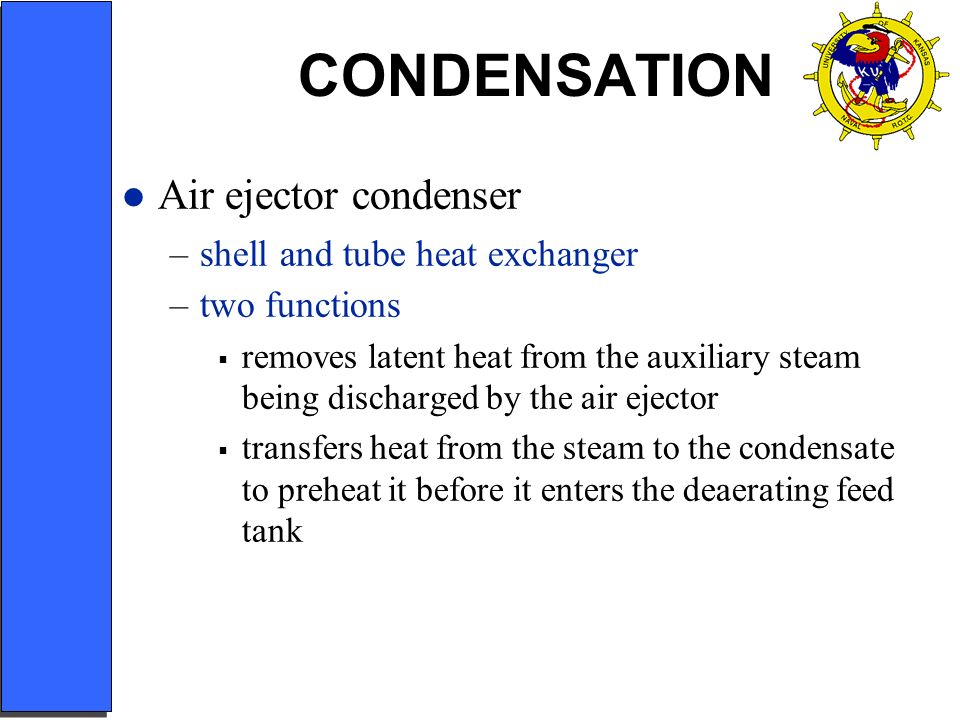 CONDENSATION Air ejector condenser shell and tube heat exchanger