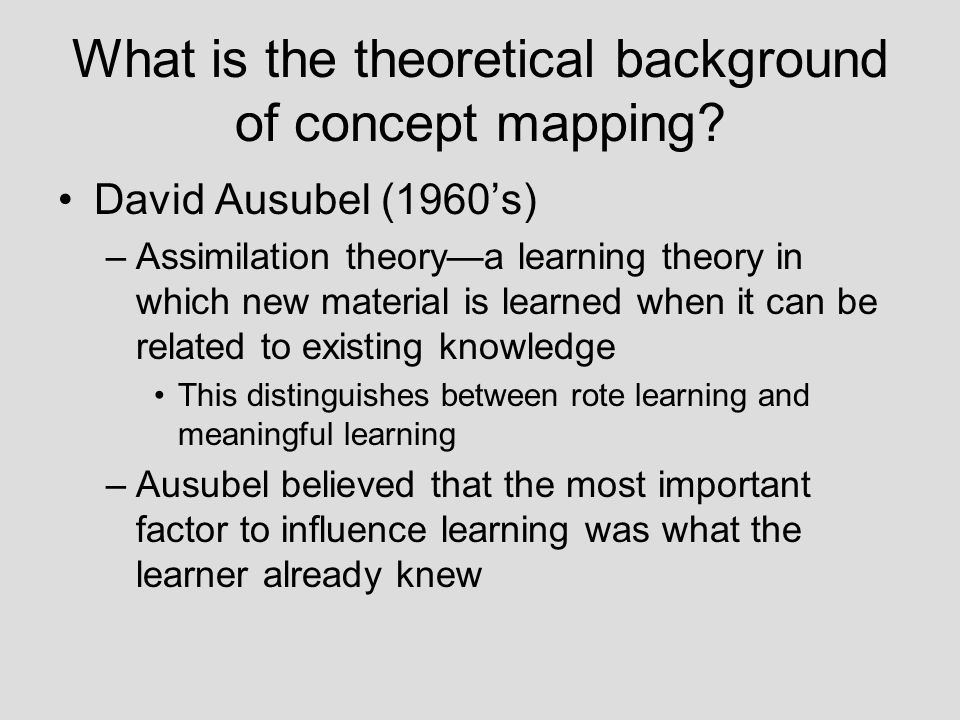 What is the theoretical background of concept mapping
