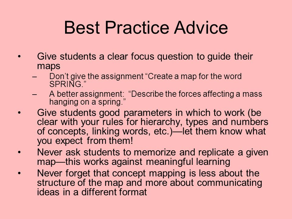 Best Practice Advice Give students a clear focus question to guide their maps. Don't give the assignment Create a map for the word SPRING.