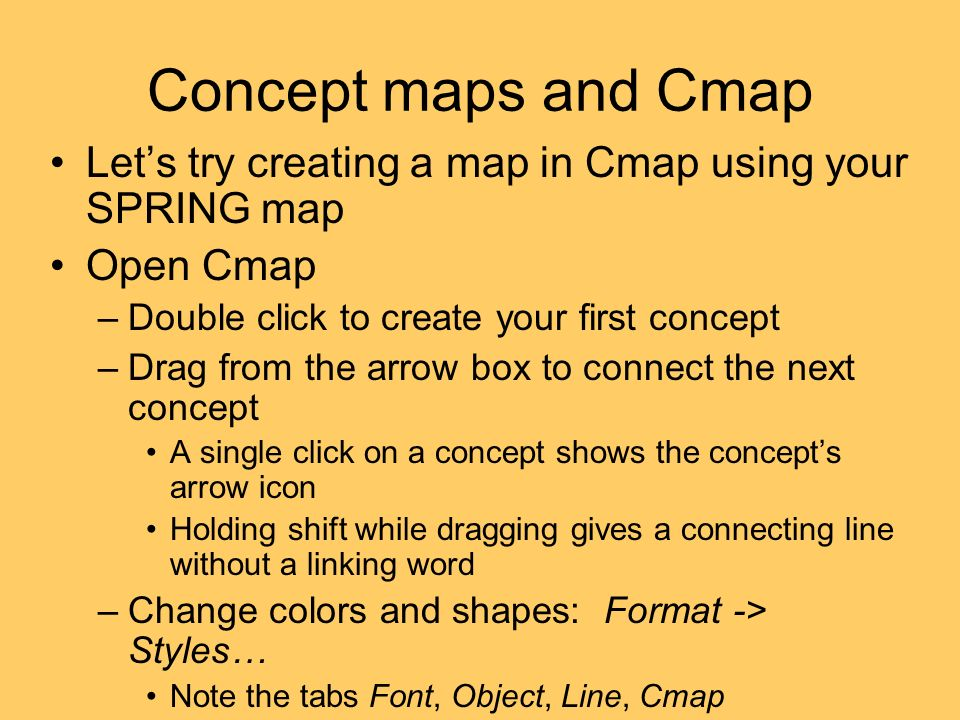 Concept maps and Cmap Let's try creating a map in Cmap using your SPRING map. Open Cmap. Double click to create your first concept.