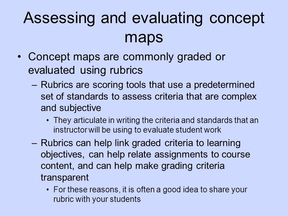 Assessing and evaluating concept maps