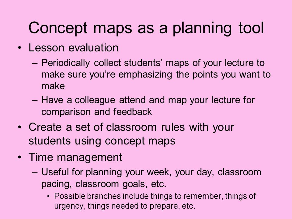 Concept maps as a planning tool