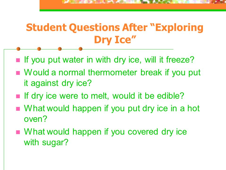 Student Questions After Exploring Dry Ice
